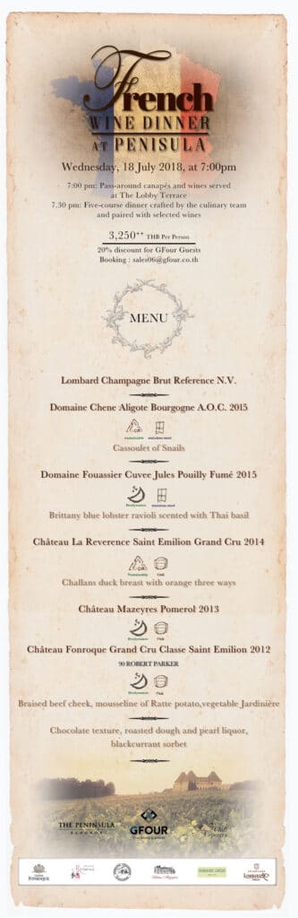 French Wine Dinner at Peninsula