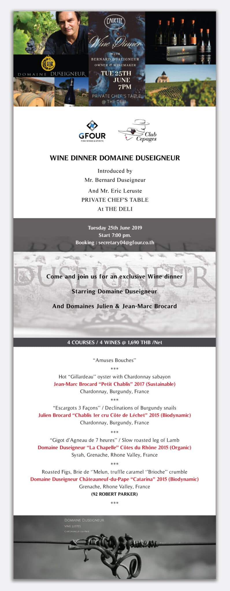 Wine Dinner with Domaine Duseigneur